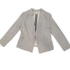 Ava & Viv Striped Open Front Blazer